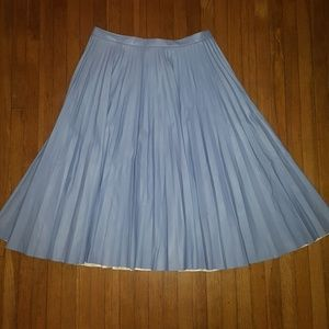 Topshop faux leather blue pleated skirt NWT